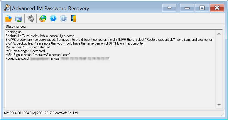 Advanced IM Password Recovery has discovered a password